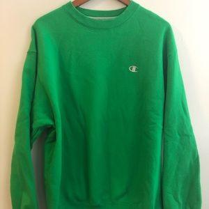 Champion Green Sweatshirt Crewneck Men's Large